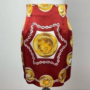 Vtg pencil skirt Asian red gold coin graphic